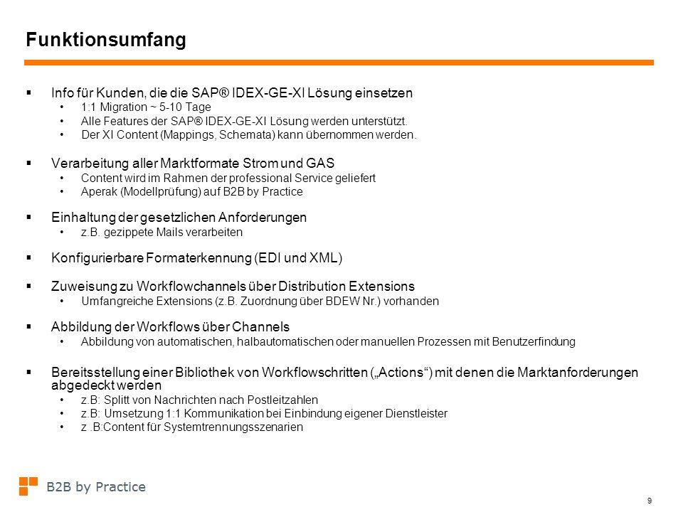 9 Funktionsumfang Info für Kunden, die die SAP® IDEX-GE-XI Lösung einsetzen 1:1 Migration ~ 5-10 Tage Alle Features der SAP® IDEX-GE-XI Lösung werden