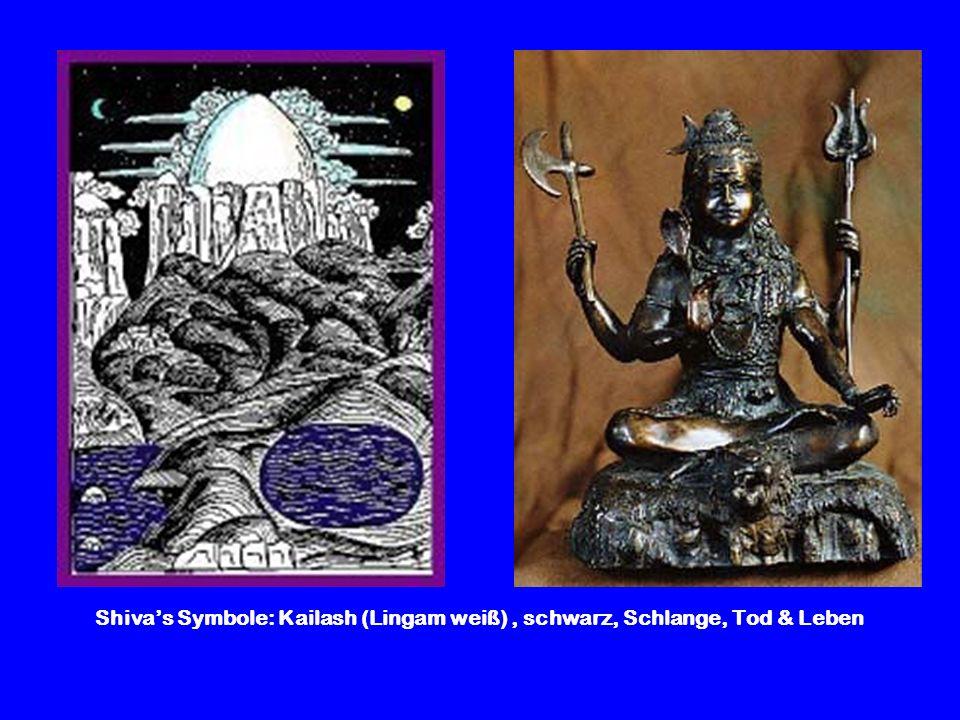 Shivas Symbole: Kailash (Lingam weiß), schwarz, Schlange, Tod & Leben