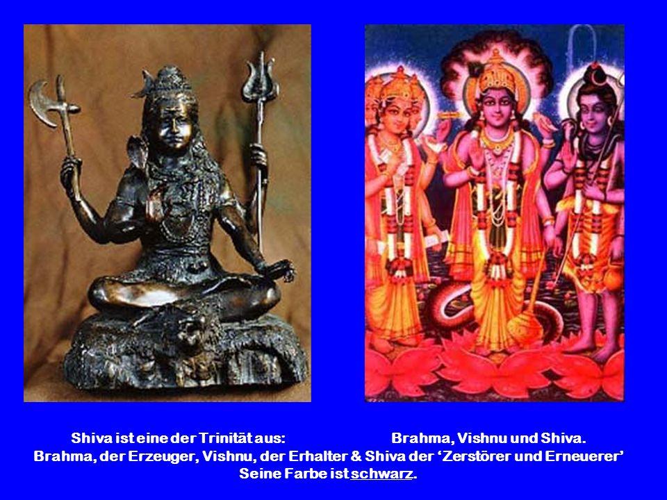 Shiva ist eine der Trinität aus: Brahma, Vishnu und Shiva. Brahma, der Erzeuger, Vishnu, der Erhalter & Shiva der Zerstörer und Erneuerer Seine Farbe