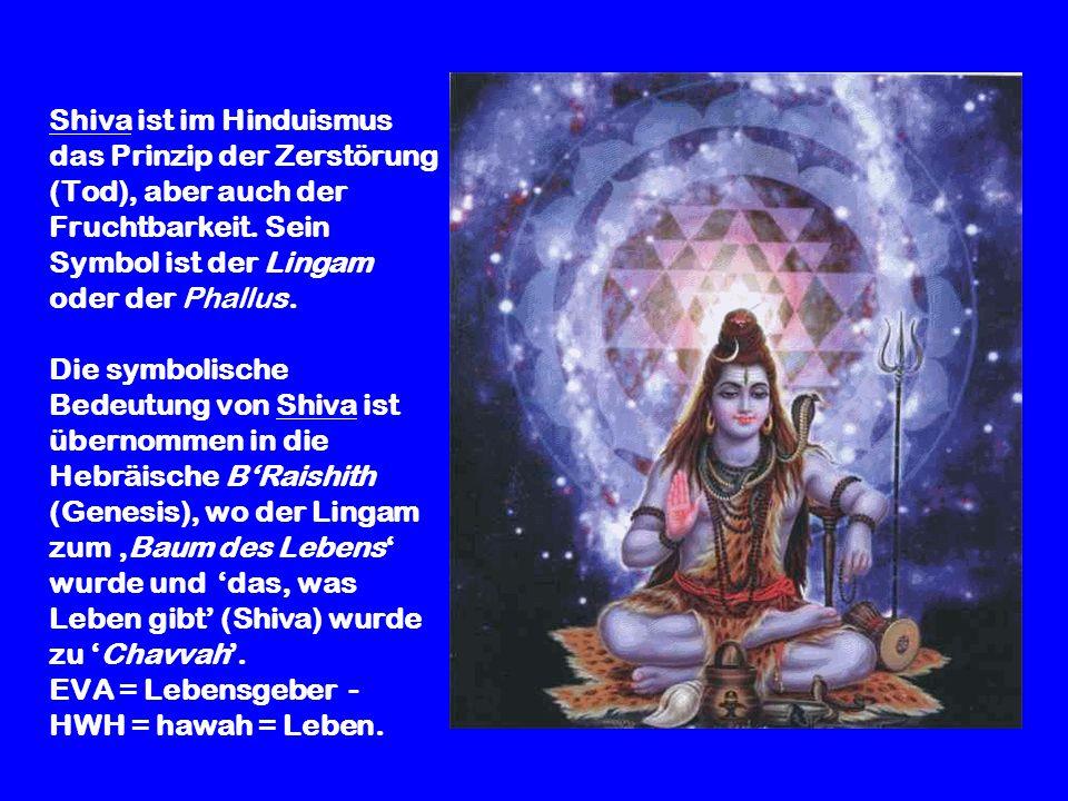 Shiva ist im Hinduismus das Prinzip der Zerstörung (Tod), aber auch der Fruchtbarkeit. Sein Symbol ist der Lingam oder der Phallus. Die symbolische Be