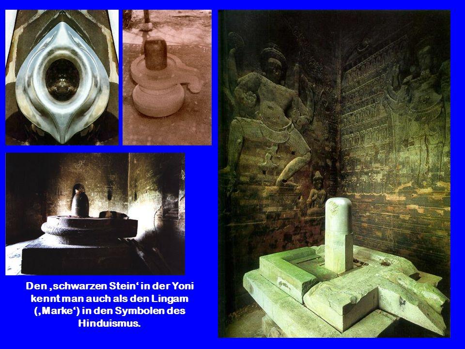 Den schwarzen Stein in der Yoni kennt man auch als den Lingam (Marke) in den Symbolen des Hinduismus.