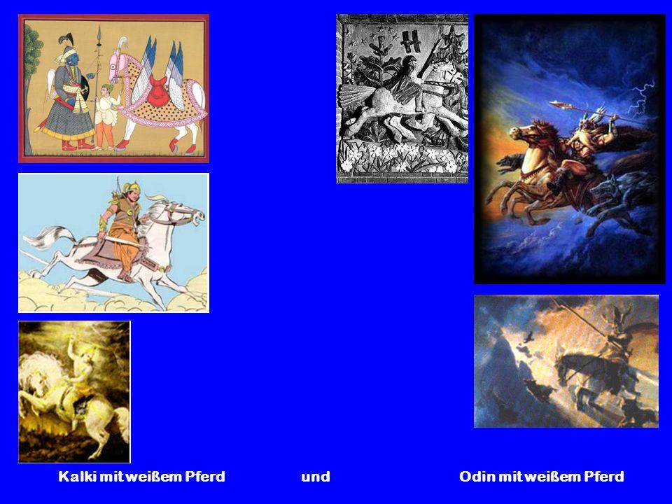Kalki mit weißem Pferd und Odin mit weißem Pferd