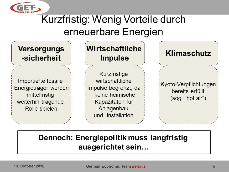 German Economic Team Belarus 13. Oktober 2010 5 Kurzfristig: Wenig Vorteile durch erneuerbare Energien 5 Dennoch: Energiepolitik muss langfristig ausg