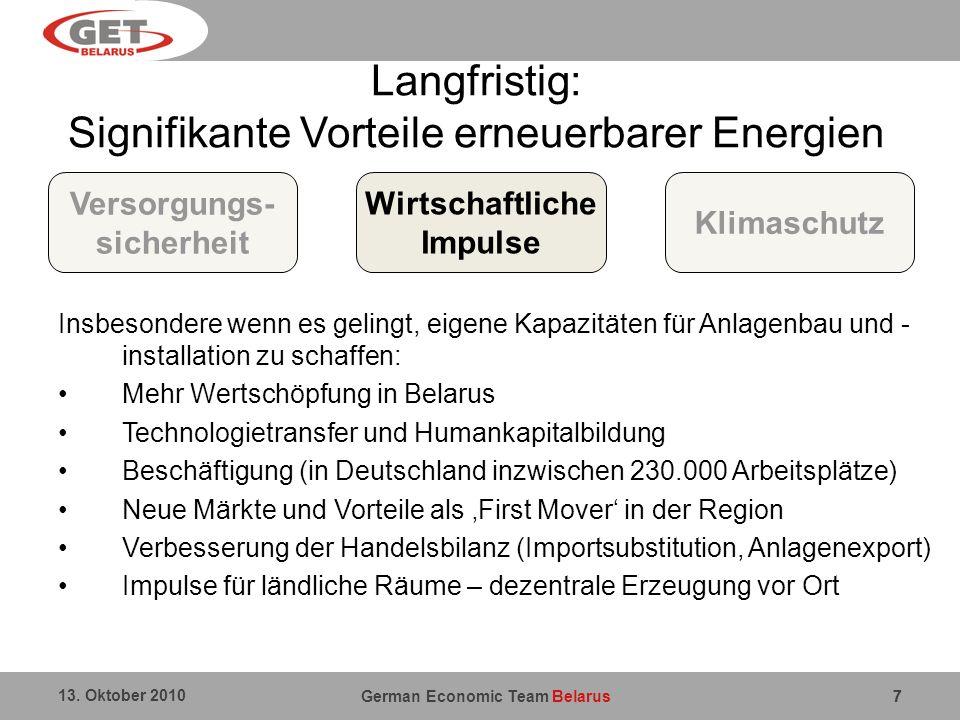 German Economic Team Belarus 13. Oktober 2010 77 Langfristig: Signifikante Vorteile erneuerbarer Energien Insbesondere wenn es gelingt, eigene Kapazit