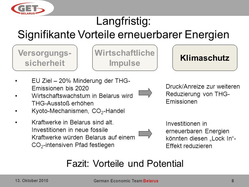 German Economic Team Belarus 13. Oktober 2010 88 Wirtschaftliche Impulse Langfristig: Signifikante Vorteile erneuerbarer Energien Versorgungs- sicherh