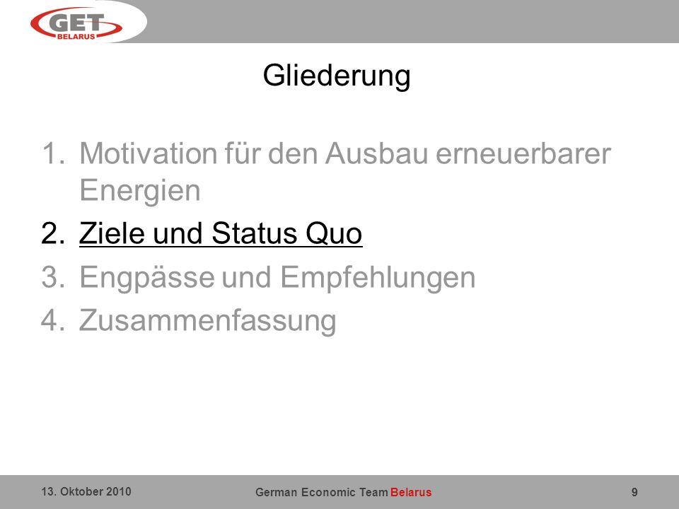 German Economic Team Belarus 13. Oktober 2010 9 Gliederung 1.Motivation für den Ausbau erneuerbarer Energien 2.Ziele und Status Quo 3.Engpässe und Emp