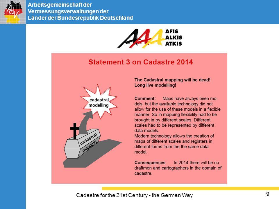Arbeitsgemeinschaft der Vermessungsverwaltungen der Länder der Bundesrepublik Deutschland Cadastre for the 21st Century - the German Way 9