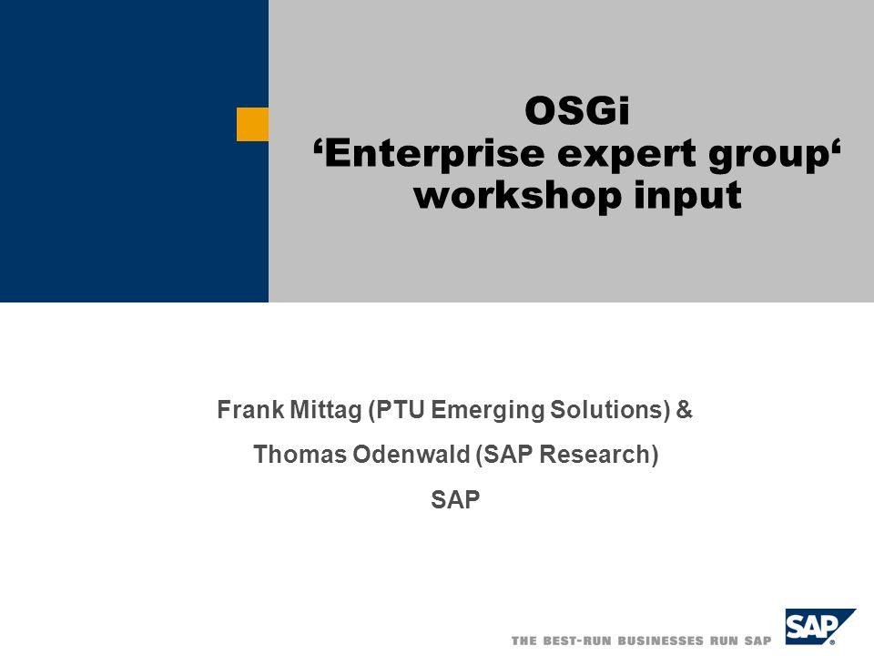 Frank Mittag (PTU Emerging Solutions) & Thomas Odenwald (SAP Research) SAP OSGi Enterprise expert group workshop input