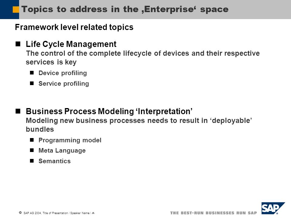 SAP AG 2004, Title of Presentation / Speaker Name / 3 Topics to address in the Enterprise space Framework level related topics Life Cycle Management T