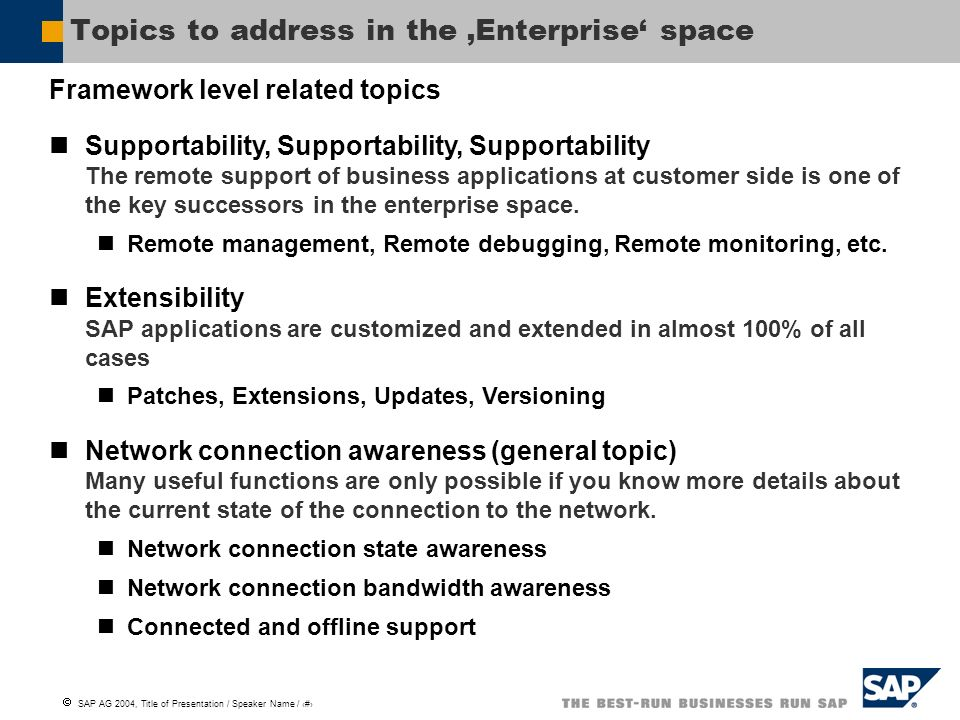 SAP AG 2004, Title of Presentation / Speaker Name / 4 Topics to address in the Enterprise space Framework level related topics Supportability, Support