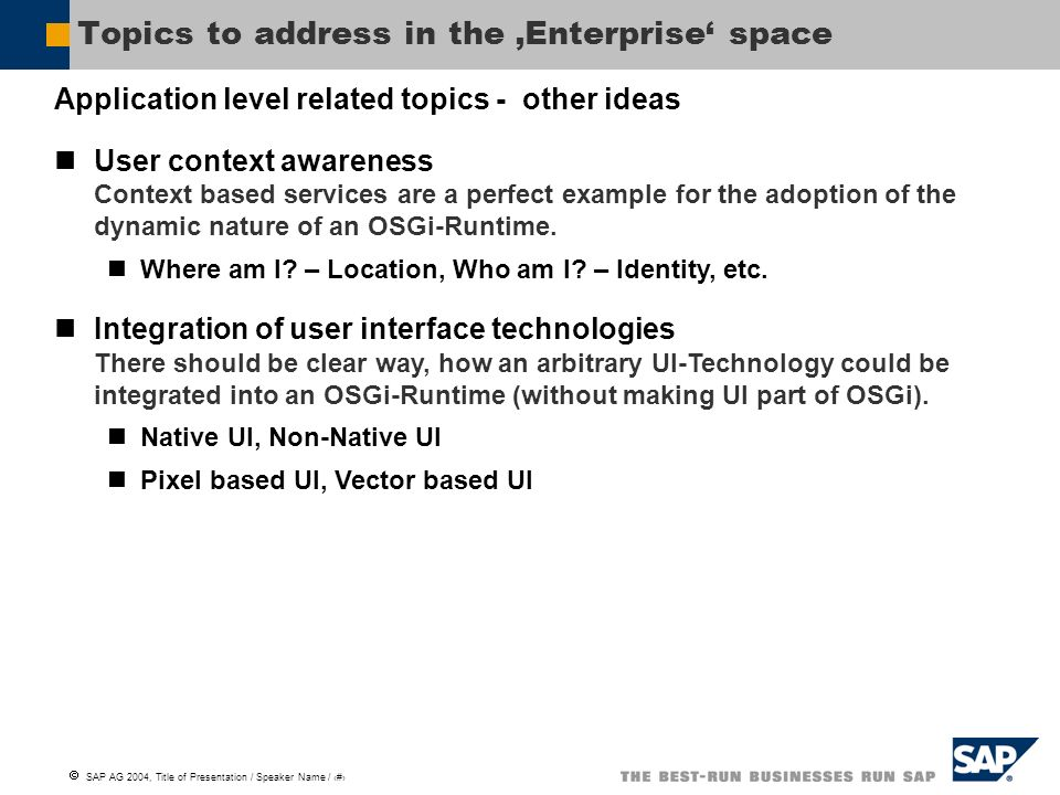 SAP AG 2004, Title of Presentation / Speaker Name / 6 Topics to address in the Enterprise space Application level related topics - other ideas User co