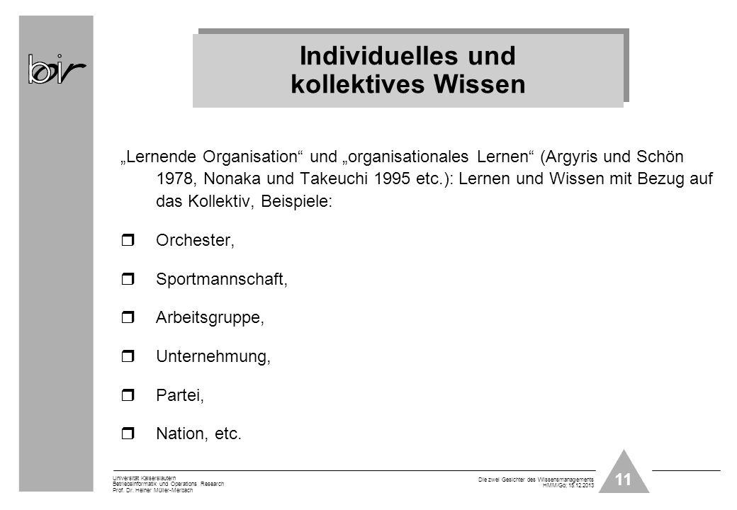 11 Universität Kaiserslautern Betriebsinformatik und Operations Research Prof. Dr. Heiner Müller-Merbach Die zwei Gesichter des Wissensmanagements HMM