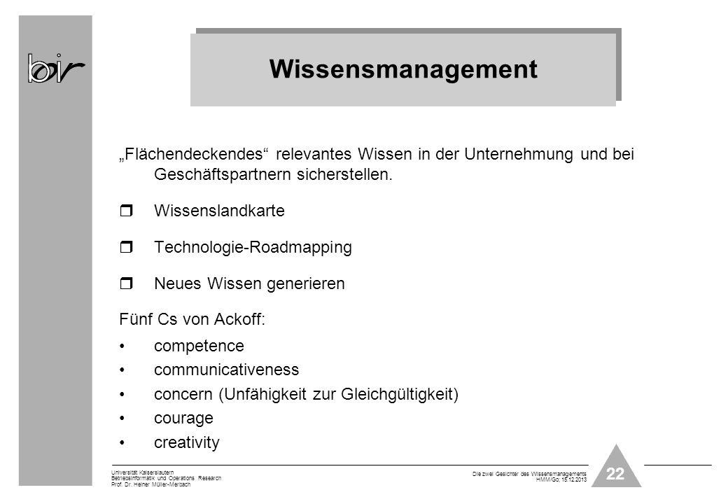 22 Universität Kaiserslautern Betriebsinformatik und Operations Research Prof. Dr. Heiner Müller-Merbach Die zwei Gesichter des Wissensmanagements HMM