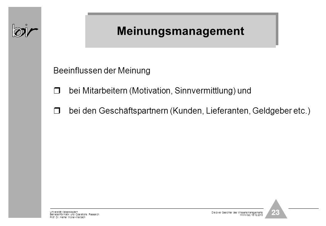23 Universität Kaiserslautern Betriebsinformatik und Operations Research Prof. Dr. Heiner Müller-Merbach Die zwei Gesichter des Wissensmanagements HMM