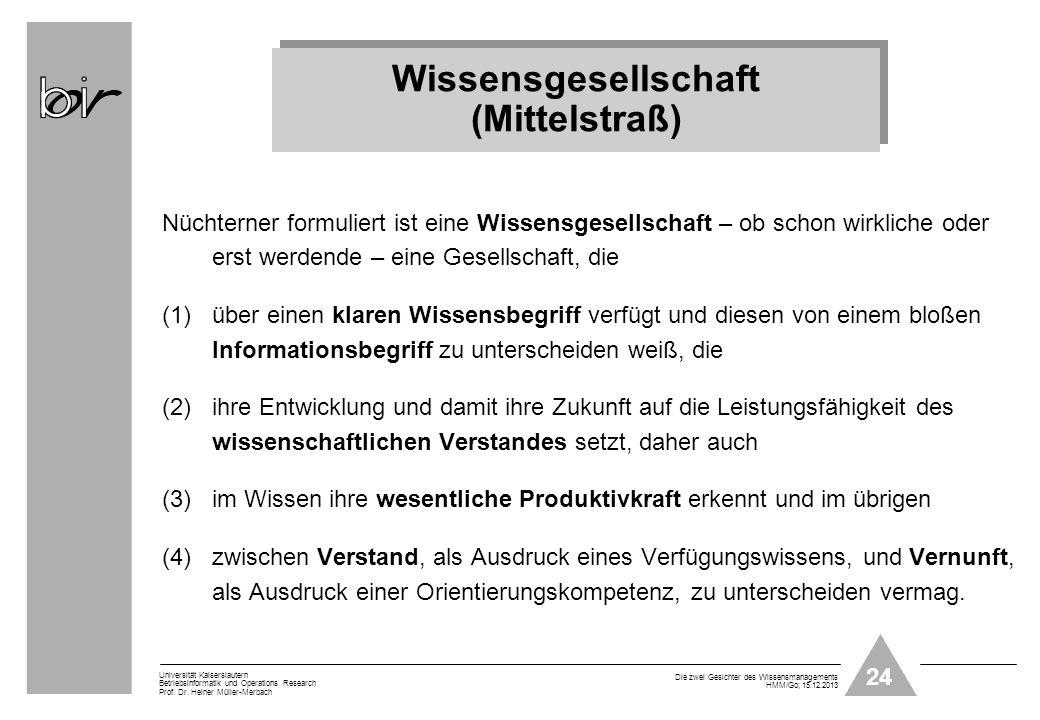 24 Universität Kaiserslautern Betriebsinformatik und Operations Research Prof. Dr. Heiner Müller-Merbach Die zwei Gesichter des Wissensmanagements HMM