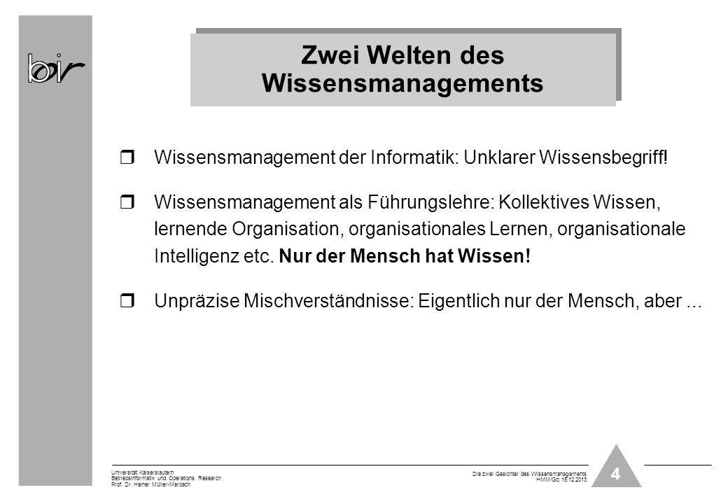 4 Universität Kaiserslautern Betriebsinformatik und Operations Research Prof. Dr. Heiner Müller-Merbach Die zwei Gesichter des Wissensmanagements HMM/