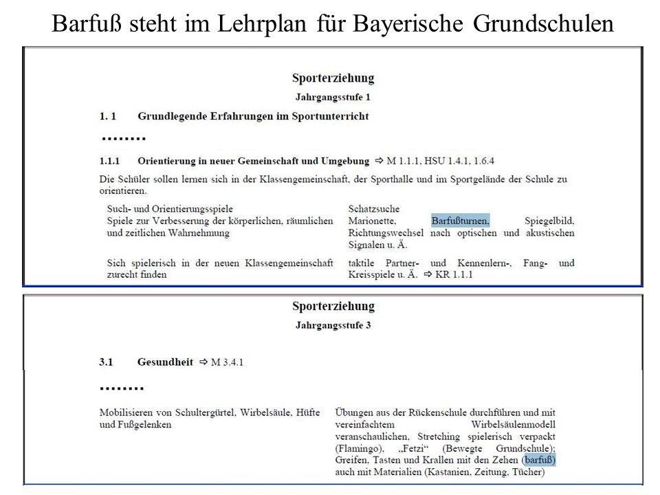 14 Barfuß steht im Lehrplan für Bayerische Grundschulen