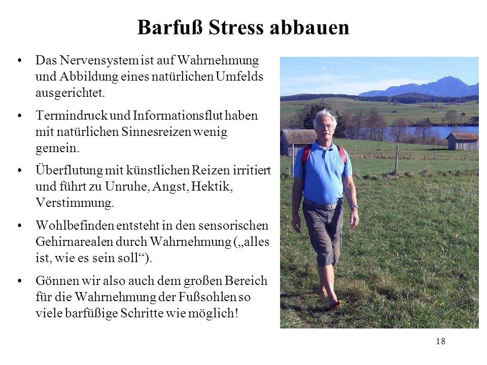 18 Barfuß Stress abbauen Das Nervensystem ist auf Wahrnehmung und Abbildung eines natürlichen Umfelds ausgerichtet. Termindruck und Informationsflut h