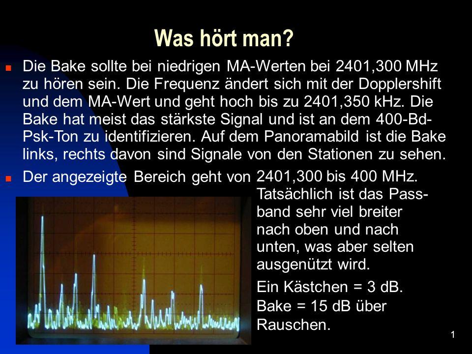 1 Was hört man? Die Bake sollte bei niedrigen MA-Werten bei 2401,300 MHz zu hören sein. Die Frequenz ändert sich mit der Dopplershift und dem MA-Wert