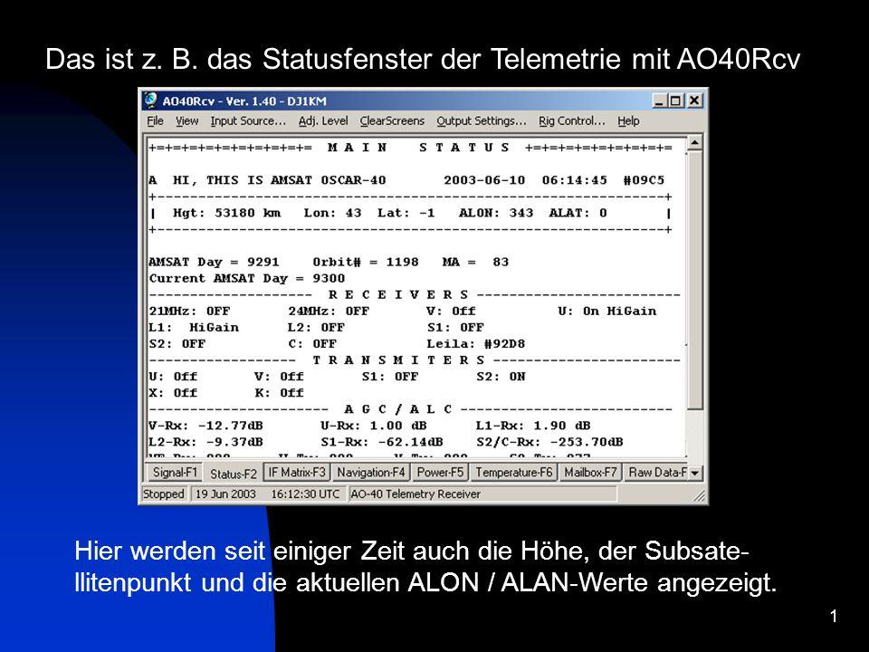 1 Das ist z. B. das Statusfenster der Telemetrie mit AO40Rcv Hier werden seit einiger Zeit auch die Höhe, der Subsate- llitenpunkt und die aktuellen A