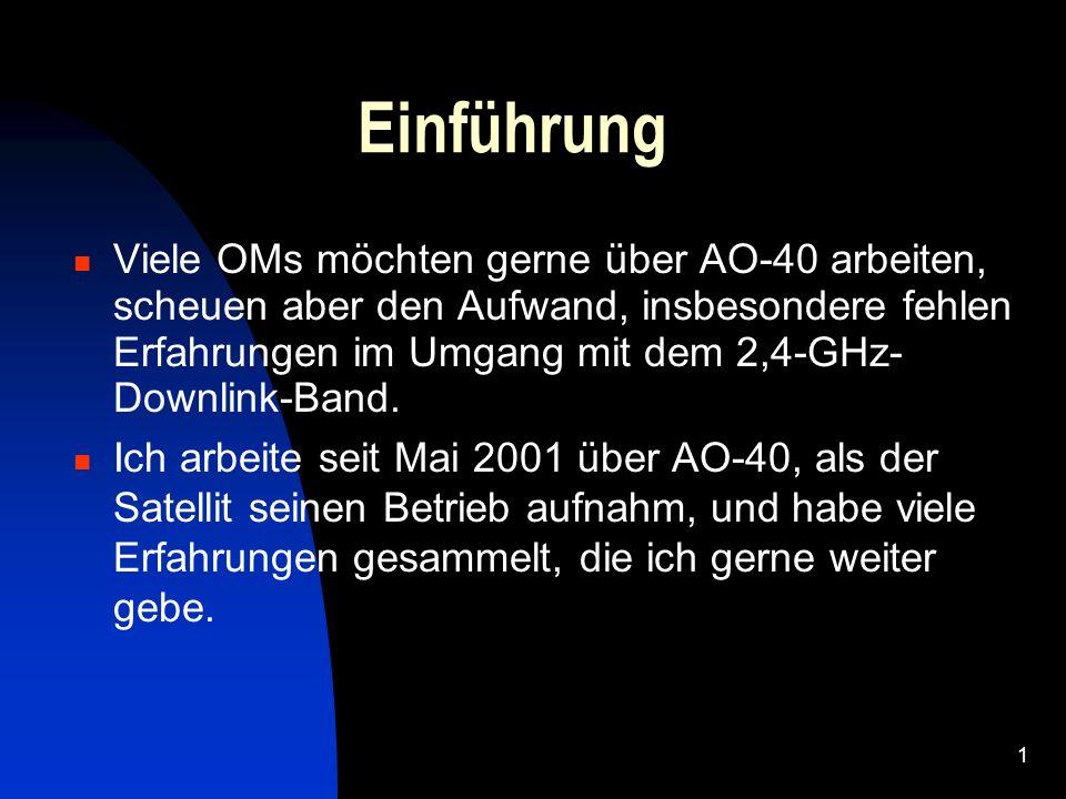 1 Einführung Viele OMs möchten gerne über AO-40 arbeiten, scheuen aber den Aufwand, insbesondere fehlen Erfahrungen im Umgang mit dem 2,4-GHz- Downlin