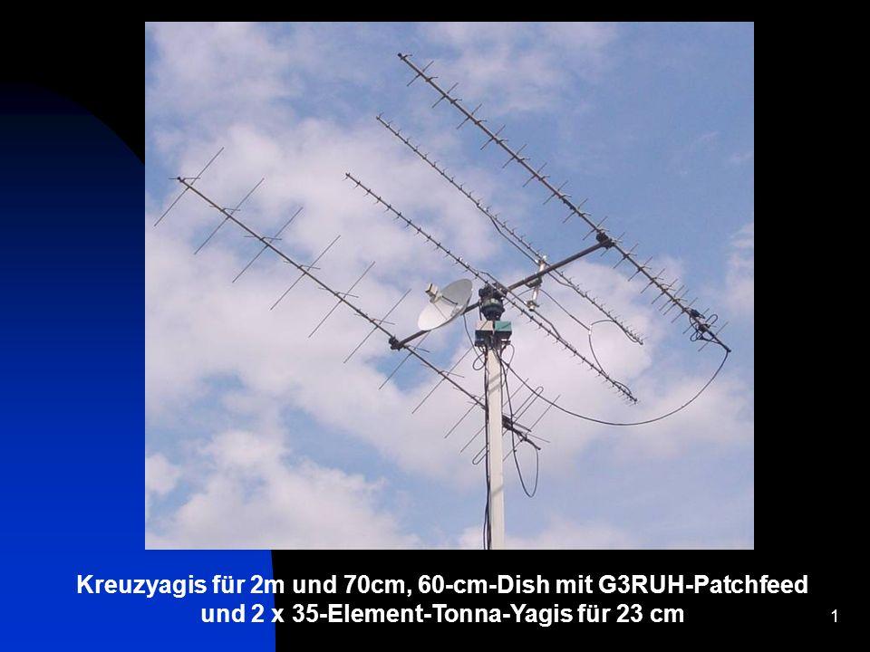 1 Kreuzyagis für 2m und 70cm, 60-cm-Dish mit G3RUH-Patchfeed und 2 x 35-Element-Tonna-Yagis für 23 cm