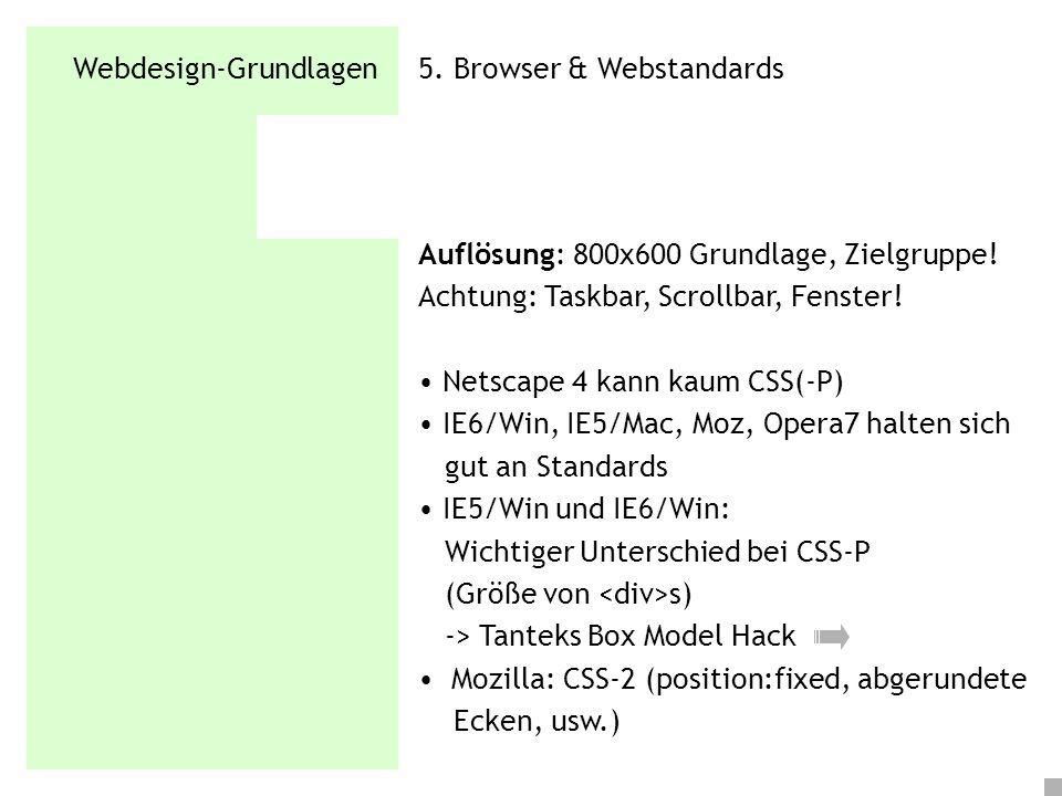 Webdesign-Grundlagen 5. Browser & Webstandards Auflösung: 800x600 Grundlage, Zielgruppe! Achtung: Taskbar, Scrollbar, Fenster! Netscape 4 kann kaum CS