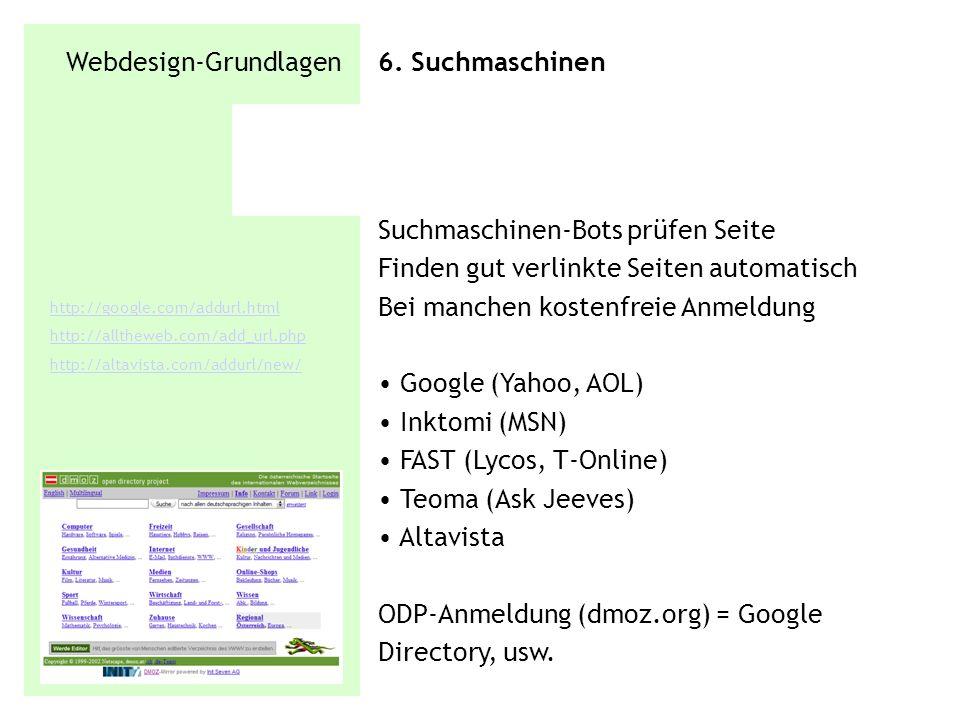Webdesign-Grundlagen 6. Suchmaschinen Suchmaschinen-Bots prüfen Seite Finden gut verlinkte Seiten automatisch Bei manchen kostenfreie Anmeldung Google