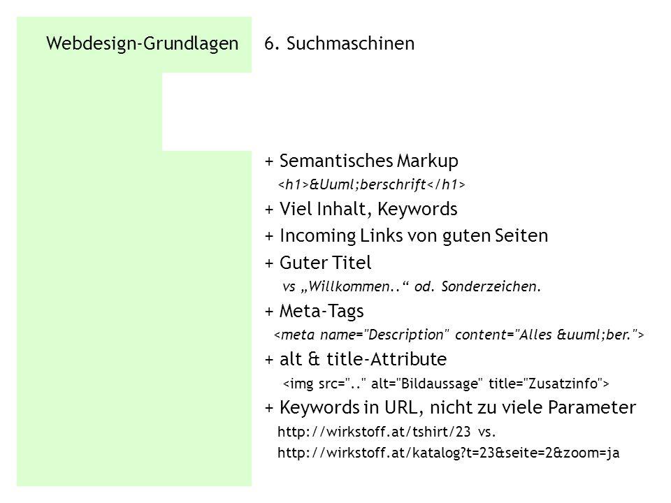 Webdesign-Grundlagen 6. Suchmaschinen + Semantisches Markup Überschrift + Viel Inhalt, Keywords + Incoming Links von guten Seiten + Guter Titel v