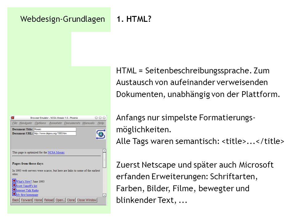 Webdesign-Grundlagen 1. HTML? HTML = Seitenbeschreibungssprache. Zum Austausch von aufeinander verweisenden Dokumenten, unabhängig von der Plattform.