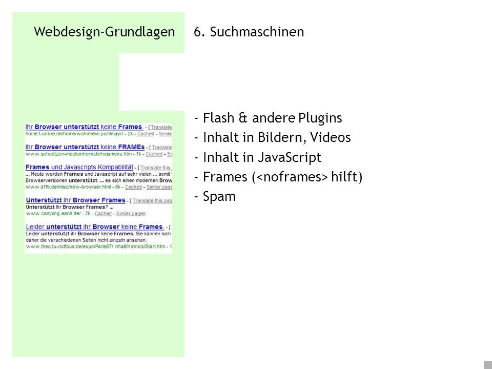 Webdesign-Grundlagen 6. Suchmaschinen - Flash & andere Plugins - Inhalt in Bildern, Videos - Inhalt in JavaScript - Frames ( hilft) - Spam