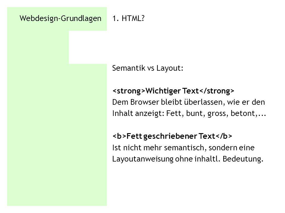 Webdesign-Grundlagen 1.HTML. HTML ist nicht PDF, war nie zum Layouten gedacht.