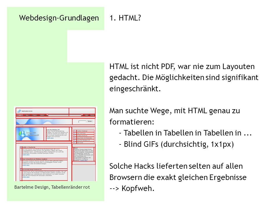 Webdesign-Grundlagen 1. HTML? HTML ist nicht PDF, war nie zum Layouten gedacht. Die Möglichkeiten sind signifikant eingeschränkt. Man suchte Wege, mit
