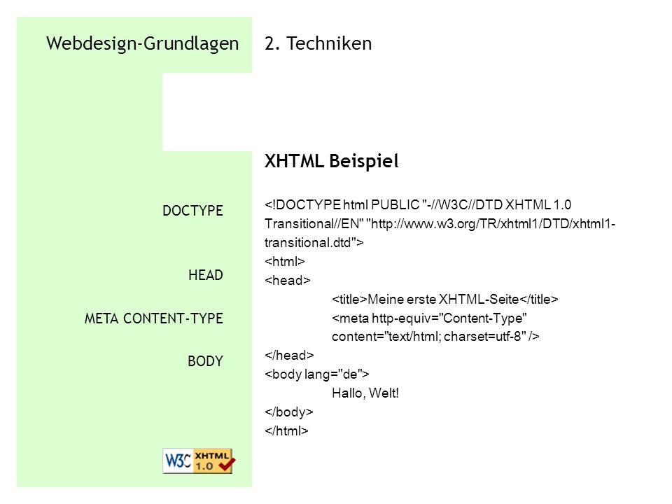 Webdesign-Grundlagen 2. Techniken XHTML Beispiel Meine erste XHTML-Seite Hallo, Welt! DOCTYPE HEAD META CONTENT-TYPE BODY