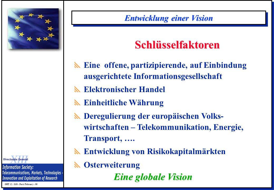 OHT 12 - MG - Paris February - 99 Entwicklung einer Vision Schlüsselfaktoren Eine offene, partizipierende, auf Einbindung ausgerichtete Informationsge