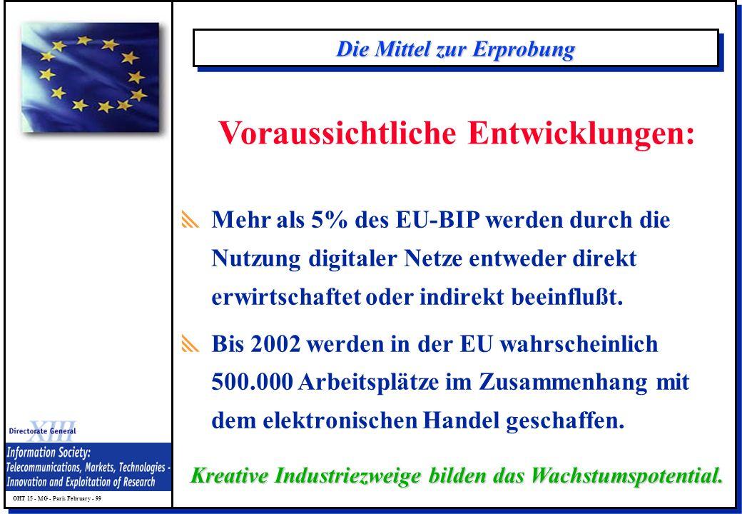 OHT 15 - MG - Paris February - 99 Die Mittel zur Erprobung Mehr als 5% des EU-BIP werden durch die Nutzung digitaler Netze entweder direkt erwirtschaf