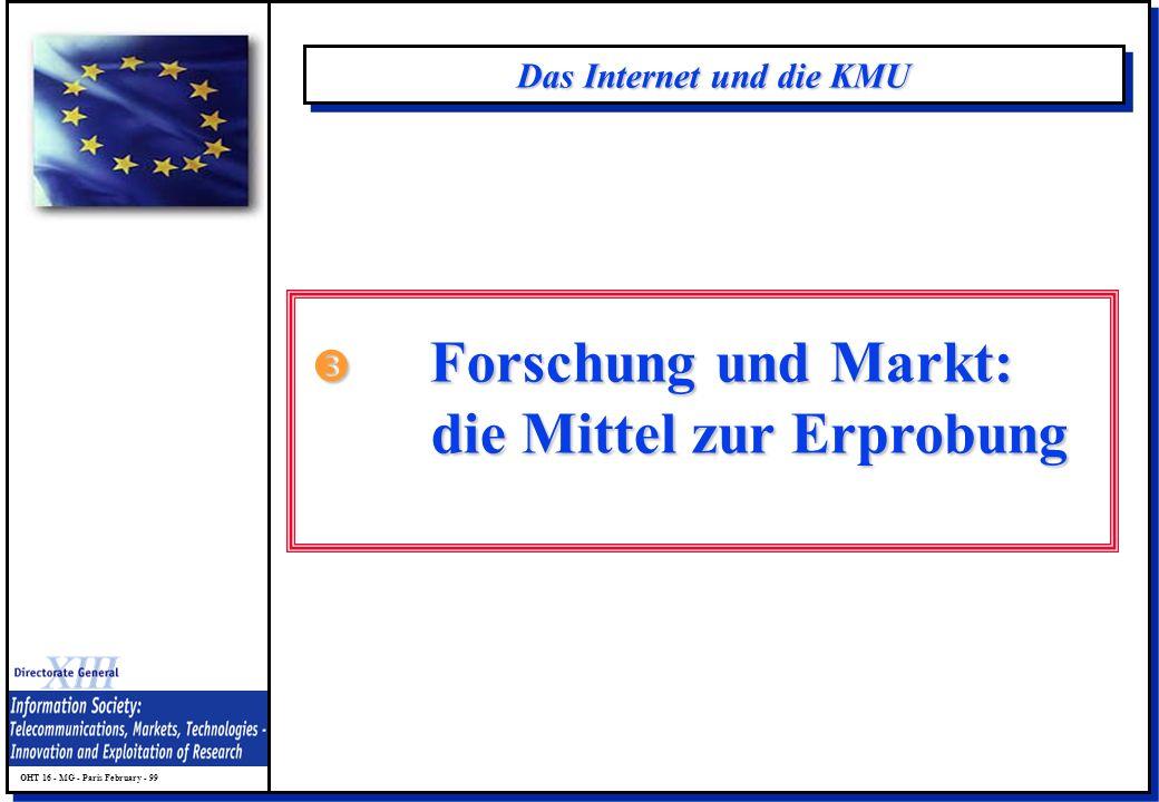 OHT 16 - MG - Paris February - 99 Das Internet und die KMU Forschung und Markt: Forschung und Markt: die Mittel zur Erprobung die Mittel zur Erprobung