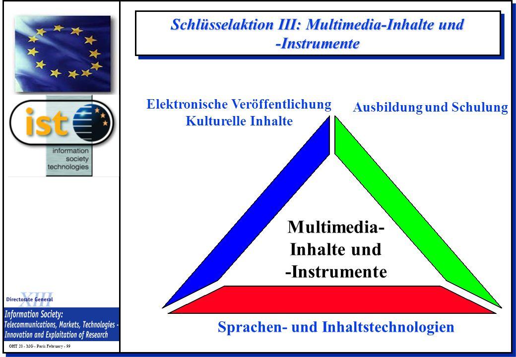 OHT 20 - MG - Paris February - 99 Schlüsselaktion III: Multimedia-Inhalte und -Instrumente Multimedia- Inhalte und -Instrumente Elektronische Veröffen
