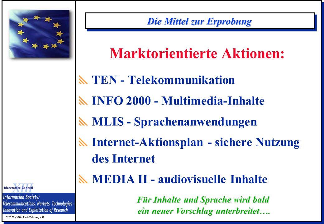 OHT 21 - MG - Paris February - 99 Die Mittel zur Erprobung TEN - Telekommunikation INFO 2000 - Multimedia-Inhalte MLIS - Sprachenanwendungen Internet-