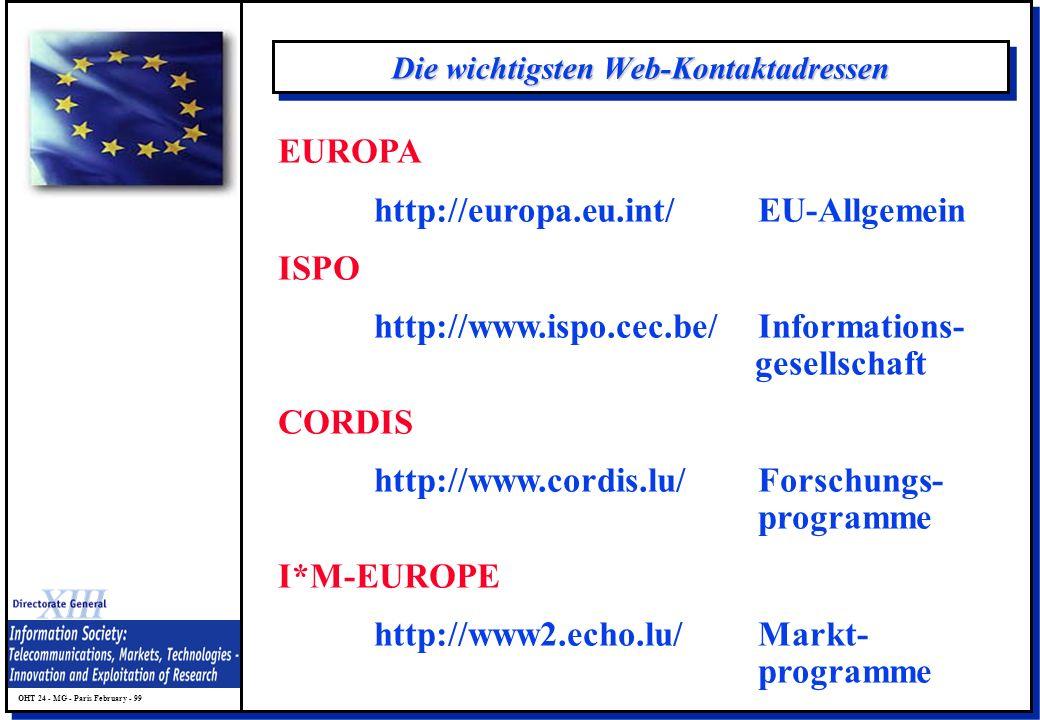 OHT 24 - MG - Paris February - 99 Die wichtigsten Web-Kontaktadressen EUROPA http://europa.eu.int/EU-Allgemein ISPO http://www.ispo.cec.be/Information