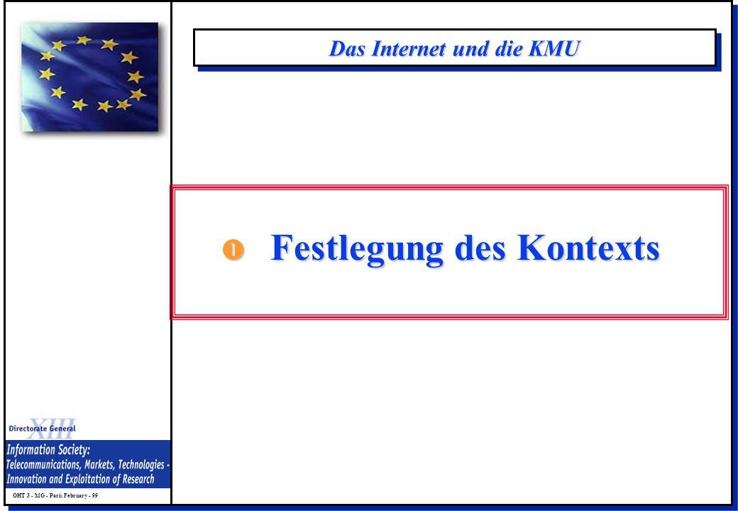 OHT 3 - MG - Paris February - 99 Das Internet und die KMU Festlegung des Kontexts Festlegung des Kontexts