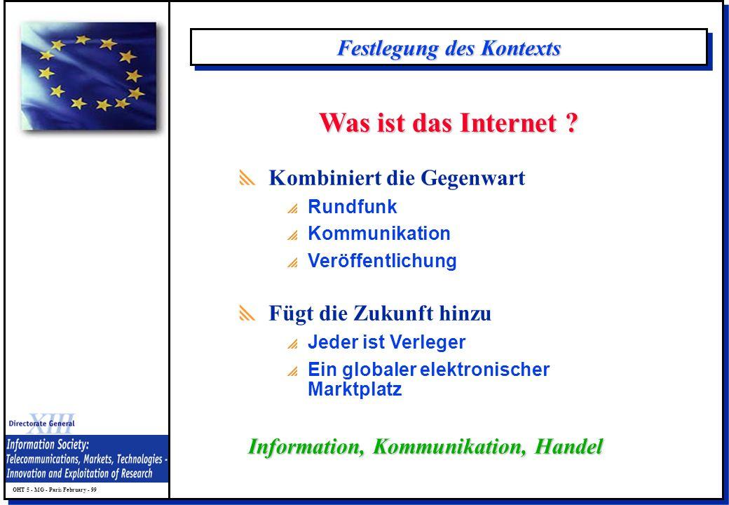 OHT 5 - MG - Paris February - 99 Festlegung des Kontexts Was ist das Internet ? Kombiniert die Gegenwart Rundfunk Kommunikation Veröffentlichung Fügt