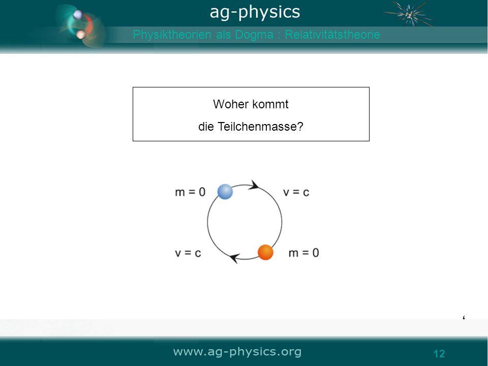 12 Woher kommt die Teilchenmasse? 12 Physiktheorien als Dogma : Relativitätstheorie