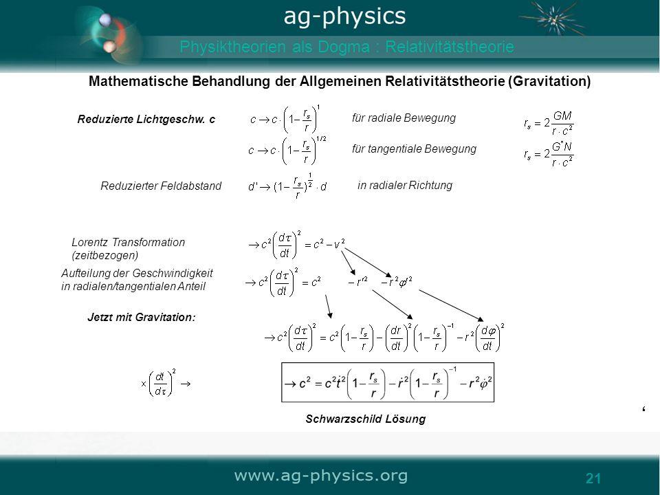 /gravity21 Mathematische Behandlung der Allgemeinen Relativitätstheorie (Gravitation) 21 für radiale Bewegung Reduzierte Lichtgeschw. c Reduzierter Fe