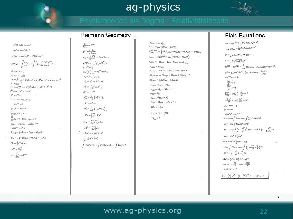 22 Field Equations Riemann Geometry Physiktheorien als Dogma : Relativitätstheorie