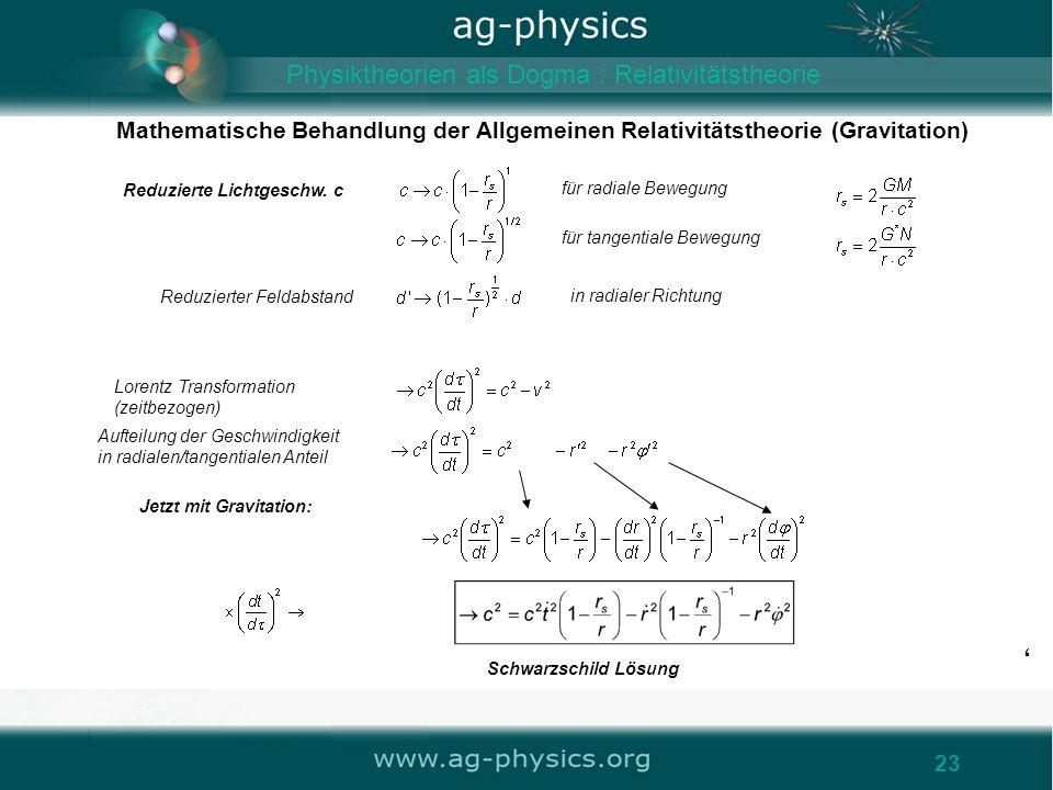 /gravity23 Mathematische Behandlung der Allgemeinen Relativitätstheorie (Gravitation) 23 für radiale Bewegung Reduzierte Lichtgeschw. c Reduzierter Fe