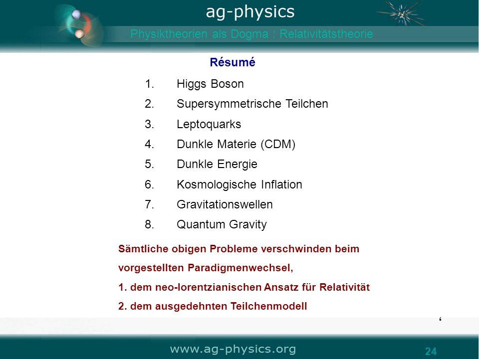 www.ag-physics.org /gravity 24 Résumé Sämtliche obigen Probleme verschwinden beim vorgestellten Paradigmenwechsel, 1. dem neo-lorentzianischen Ansatz