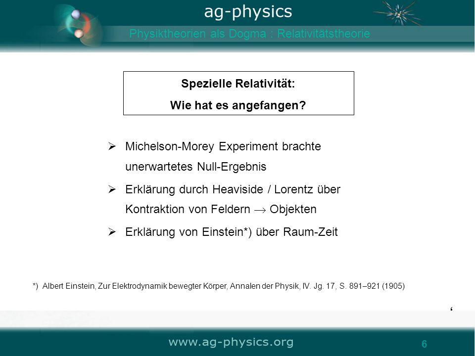 6 Spezielle Relativität: Wie hat es angefangen? 6 Michelson-Morey Experiment brachte unerwartetes Null-Ergebnis Erklärung durch Heaviside / Lorentz üb