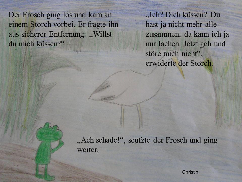 Der Frosch ging los und kam an einem Storch vorbei. Er fragte ihn aus sicherer Entfernung: Willst du mich küssen? Ich? Dich küssen? Du hast ja nicht m