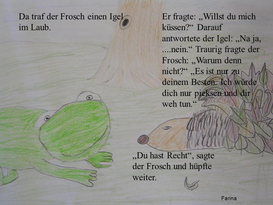 Da traf der Frosch einen Igel im Laub. Er fragte: Willst du mich küssen? Darauf antwortete der Igel: Na ja,....nein. Traurig fragte der Frosch: Warum